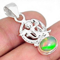 3.12cts natural multi color ethiopian opal 925 silver angel pendant r75478