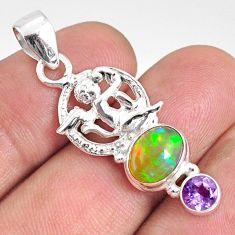 3.83cts natural multi color ethiopian opal 925 silver angel pendant r76503