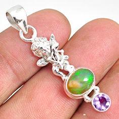 3.91cts natural multi color ethiopian opal 925 silver angel pendant r76510