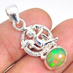 3.30cts natural multi color ethiopian opal 925 silver angel pendant r76518