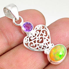 3.51cts natural multi color ethiopian opal 925 silver heart pendant r76502
