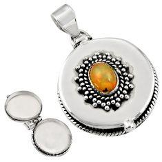 2.14cts natural multi color ethiopian opal 925 silver poison box pendant r30626