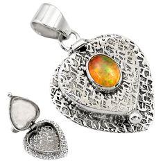 2.00cts natural multi color ethiopian opal 925 silver poison box pendant r30728