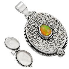 2.05cts natural multi color ethiopian opal 925 silver poison box pendant r30732