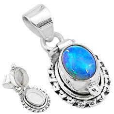 2.81cts natural multi color ethiopian opal 925 silver poison box pendant t3721