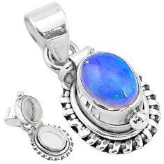 2.98cts natural multi color ethiopian opal 925 silver poison box pendant t3735