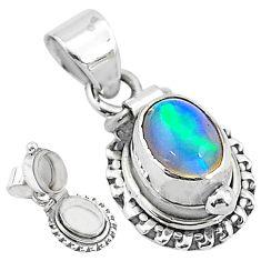 2.81cts natural multi color ethiopian opal 925 silver poison box pendant t3739