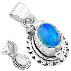 2.81cts natural multi color ethiopian opal 925 silver poison box pendant t3747