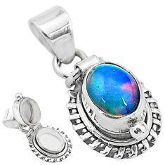 2.72cts natural multi color ethiopian opal 925 silver poison box pendant t3748