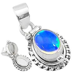 2.81cts natural multi color ethiopian opal 925 silver poison box pendant t3755