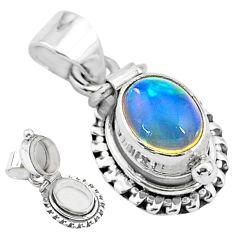 2.81cts natural multi color ethiopian opal 925 silver poison box pendant t3760