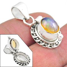 2.98cts natural multi color ethiopian opal 925 silver poison box pendant t45421