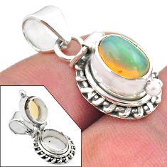 3.10cts natural multi color ethiopian opal 925 silver poison box pendant t45433