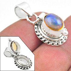3.25cts natural multi color ethiopian opal 925 silver poison box pendant t45448