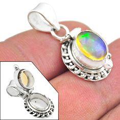 3.14cts natural multi color ethiopian opal 925 silver poison box pendant t45449