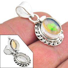 3.11cts natural multi color ethiopian opal 925 silver poison box pendant t45452