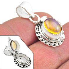 2.72cts natural multi color ethiopian opal 925 silver poison box pendant t45454