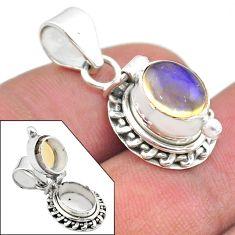 3.14cts natural multi color ethiopian opal 925 silver poison box pendant t45455