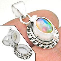 2.97cts natural multi color ethiopian opal 925 silver poison box pendant t45555