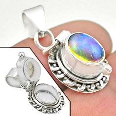 2.53cts natural multi color ethiopian opal 925 silver poison box pendant t45556