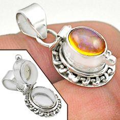 3.14cts natural multi color ethiopian opal 925 silver poison box pendant t45558