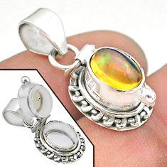 2.97cts natural multi color ethiopian opal 925 silver poison box pendant t45560