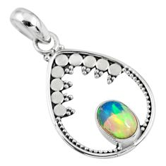 2.10cts natural multi color ethiopian opal 925 sterling silver pendant r57747