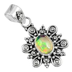 1.96cts natural multi color ethiopian opal 925 sterling silver pendant r57749