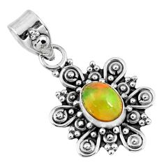 1.96cts natural multi color ethiopian opal 925 sterling silver pendant r57750