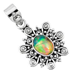 1.99cts natural multi color ethiopian opal 925 sterling silver pendant r57751