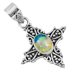 2.27cts natural multi color ethiopian opal 925 sterling silver pendant r57753