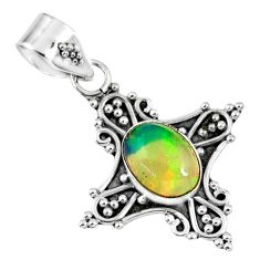 2.26cts natural multi color ethiopian opal 925 sterling silver pendant r57754
