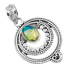 2.17cts natural multi color ethiopian opal 925 sterling silver pendant r57755