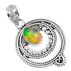 2.20cts natural multi color ethiopian opal 925 sterling silver pendant r57757