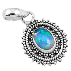 2.37cts natural multi color ethiopian opal 925 sterling silver pendant r57758