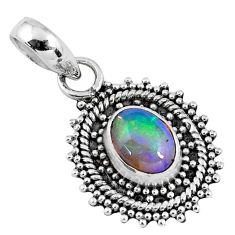 2.38cts natural multi color ethiopian opal 925 sterling silver pendant r57759