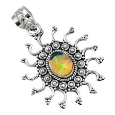 2.19cts natural multi color ethiopian opal 925 sterling silver pendant r57855