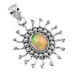 2.19cts natural multi color ethiopian opal 925 sterling silver pendant r57856