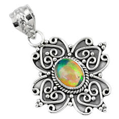 2.19cts natural multi color ethiopian opal 925 sterling silver pendant r57858