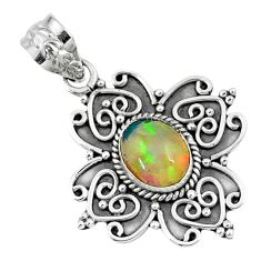 2.19cts natural multi color ethiopian opal 925 sterling silver pendant r57859