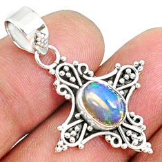 3.06cts natural multi color ethiopian opal 925 sterling silver pendant r72256