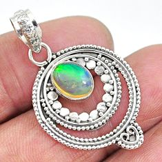 2.10cts natural multi color ethiopian opal 925 sterling silver pendant t10677
