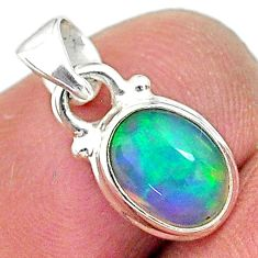 2.47cts natural multi color ethiopian opal 925 sterling silver pendant t10696