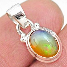 3.37cts natural multi color ethiopian opal 925 sterling silver pendant t21272