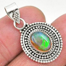 3.00cts natural multi color ethiopian opal 925 sterling silver pendant t3011