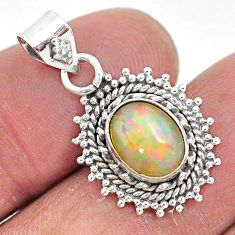 2.90cts natural multi color ethiopian opal 925 sterling silver pendant t3027