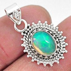 3.05cts natural multi color ethiopian opal 925 sterling silver pendant t3030