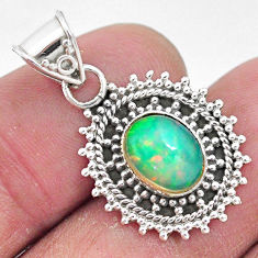 3.28cts natural multi color ethiopian opal 925 sterling silver pendant t3034