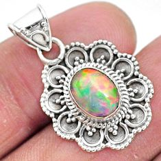 3.29cts natural multi color ethiopian opal 925 sterling silver pendant t3068