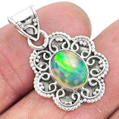3.06cts natural multi color ethiopian opal 925 sterling silver pendant t3071